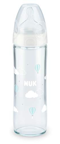 """Nuk Glas-Babyflasche""""New Classic"""" mit Sauger mittelfein gelocht - farbig sortiert, 240 ml, mehrfarbig"""