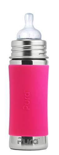Pura Kiki Edelstahl Babyflasche pink schadstofffrei nachhaltig mit Babysauger