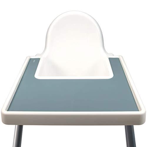 Silikon Hochstuhl Matte für Babys und Kinder | Silikonmatte für den Babyhochstuhl des bekannten schwedischen Möbelhersteller, Rutschfest, BPA-frei, Wasserdicht & leicht zu reinigen (Blau, Ether)