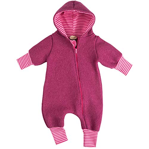 """Lilakind"""" Baby Wollwalk Overall Einteiler mit Kapuze Walkloden Walkoverall Fuchsia Gr. 80/86 - Made in Germany"""