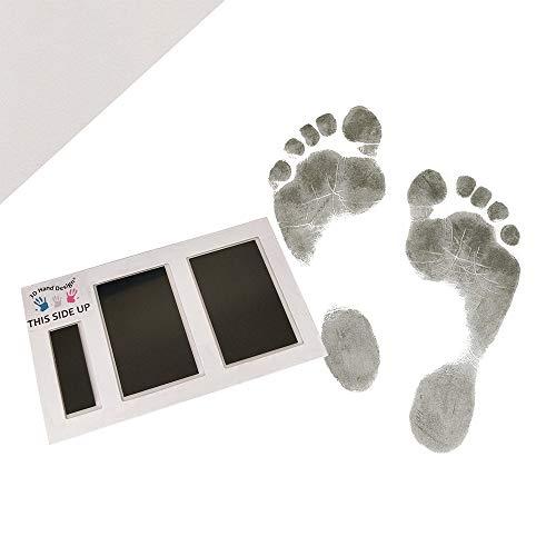 3D Hand Design Set für Fußabdruck | schwarz | für Neugeborene & Babys bis 3 Monate auf jedem Papier | Magic Footprint Standard (Papierfarbe: Grau, bis zu 16 Abdrücke)