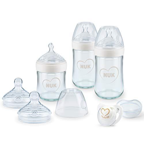 NUK Nature Sense Babyflaschen aus Glas, Starter Set   0–6 Monate   3 x Anti-Colic-Babyflaschen, Sauger & Genius Schnuller   BPA-frei   Herz (neutral)   7 Stück