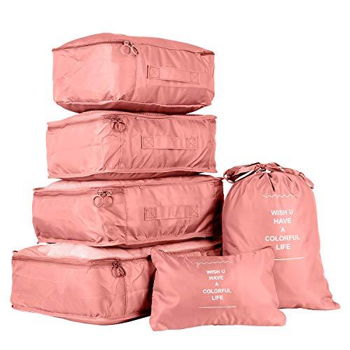 PATIO PLUS Gepäck Organizer 6 Teilige Kleidertaschen, Packtaschen Set für Urlaub und Reisen - Reisegepäck Koffer Organizer für Kleidung Kosmetik Schuhbeutel Aufbewahrungstasche,Rosa