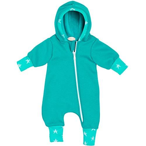 """Lilakind"""" Baby Jungen Mädchen Overall Einteiler mit Kapuze Alpenfleece Fleece Sterne Grün Gr. 56/62-116/122 - Made in Germany"""