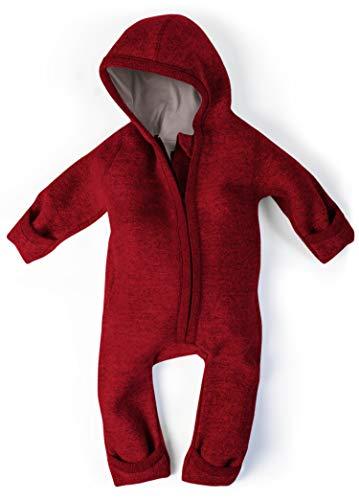 Ehrenkind® WALKOVERALL | Baby Wollwalk-Overalls aus Natur Schurwolle mit Reißverschluss | Walk Wolle Woll-Anzug für Kleinkind und Baby Mohnrot Gr. 74/80