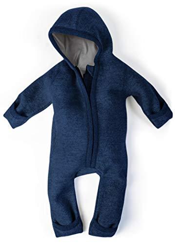 Ehrenkind® WALKOVERALL | Baby Wollwalk-Overalls aus Natur Schurwolle mit Reißverschluss | Walk Wolle Woll-Anzug für Kleinkind und Baby | Blau Gr. 50/56