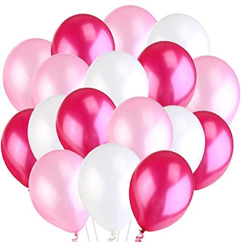 Jonami 50 Luftballons Rosa Weiß Fuchsie Ballon Premiumqualität Partyballon Deko Pink 3,2g. Dekoration fur Geburtstag , Baby Dusche Party, Baby Shower