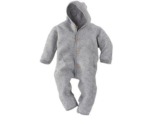Engel-Natur Baby Overall mit Kapuze aus Bio Schurwoll-Fleece, Hellgrau Melange, Gr. 50/56