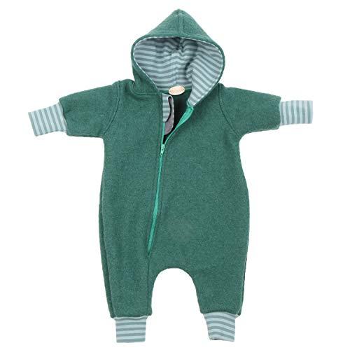 """Lilakind"""" Baby Wollwalk Overall Einteiler mit Kapuze Walkloden Walkoverall Grün gestreift Gr. 80/86 - Made in Germany"""
