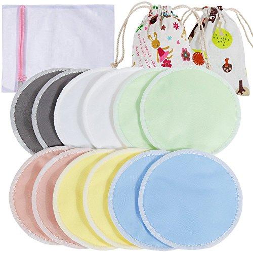 Lictin 12 Stilleinlagen Stilleinlagen Waschbar Stilleinlagen Seide mit 1 Wäschenetz und 2 Stofftasche Stilleinlagen Wolle Seide Bambus Stilleinlagen Stilleinlagen Baumwolle