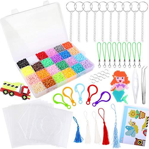 HOWAF 22000 Bügelperlen Set mit Bügelperlen Stiftplatten Platten Zubehör Muster Steckperlen in Organizerbox (2,6 mm,24 Farben), Perlen Pinzette, Bügelpapier und Schnalle Aufhängen für Kinder