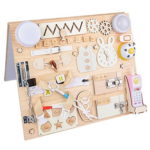 Busy-Board für Kleinkinder - Holz Montessori Aktivitätsbrett Verriegelungsbrett Baby Beschäftigtes Brett - Erlernen Der Grundfertigkeiten Spielzeug - Vorschulpädagogisches Lernspielzeug Für 1 2 3 4