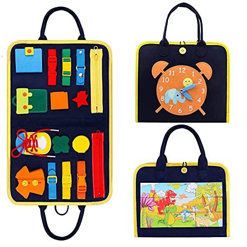 TOLOYE Activity Board für Kinder, Busy Board Montessori Spielzeug, Lernspielzeug Motorikbrett Spielzeug für ToddlerLernen Grundleben Kleidungsfähigkeiten, Geschenke für Jungen und Mädchen 2 3 4 Jahre