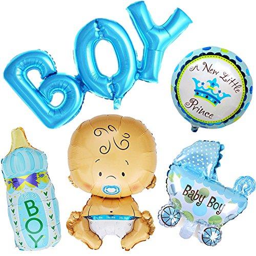 Ouinne 5 Stück Heliumballon Baby Folienballon Babyshower Babyparty Party und Dekoration (Junge)